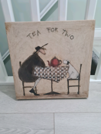 "Dog and Owner ""Tea for Two"" Canvas"