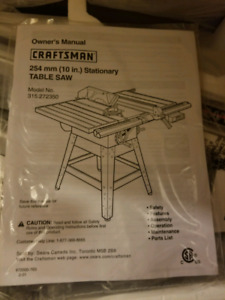 Brand New Craftsman Table Saw