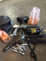 Paintball set and toys for guys.