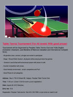 Table Tennis Tournament! For All levels! With good prices!
