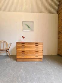 Vintage Oak Mid Century Architects Plan Chest
