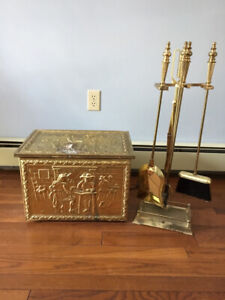 Brass Fireplace Accessories - tools + kindling/wood box