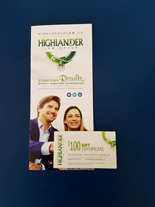 $100 in legal service or free legal consult w/ Highlander Law