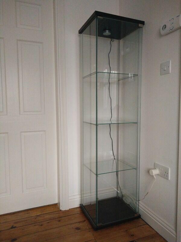 Ikea Detolf Glass Door Display Cabinet With Light In