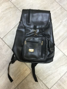 Black Leatherette Pull String Backpack