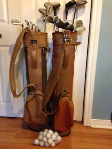 2 Older sets golf clubs with bag balls