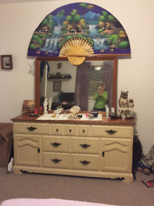 Double bed, mattress, chest of drawers, mirror and side table