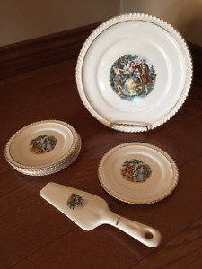 Harker Pottery Co. plate & serving knife with 6 serving plate