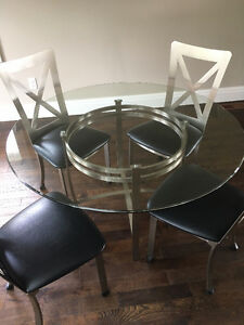 Stainless Steel Glass Top Dining Table with S/S chairs