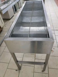 Stainless steel food warmer, bin and lamp, for chips , burgers.