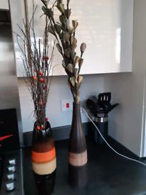 2 Vases with twig berries/flowers