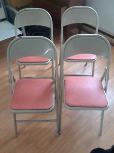 4x chaise en metal pliante antique