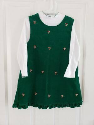Rare Too! Girls Size 6 Green Corduroy Candy Canes Christmas Jumper Dress Holiday