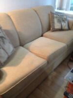 gold fabric hide a bed sofa in good shape