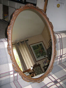 Oval Mirror with Dark Composite Frame