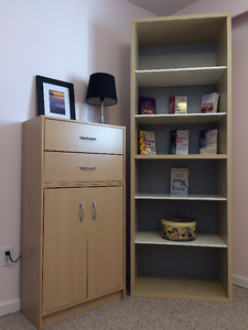 IKEA Birch Veneer & White Tall Bookcase with Adjustable Shelves
