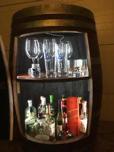 Wine or Whiskey Barrel Cabinet
