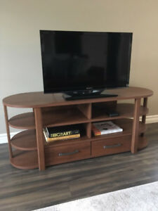 Wood Effect TV Media Table Console with Two Drawers
