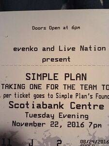 Simple plan tickets (2). Section 11, Row J, seats 1&2 70$ OBO