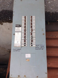 Breaker panel with breakers.