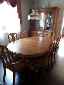 Solid oak dining table and hutch