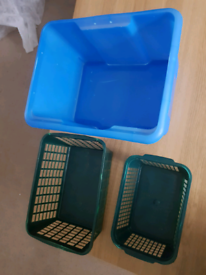 1 Large storage box and 2 Baskets - Toys