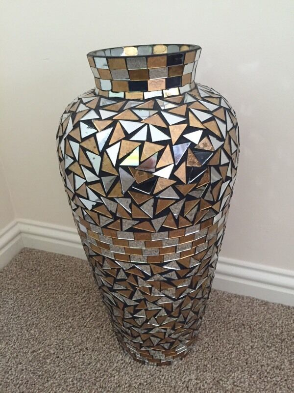 Large Vase Jar Urn Mosaic Mirror Pattern 19 Quot Tall In