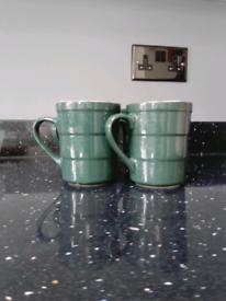 4 X green mugs