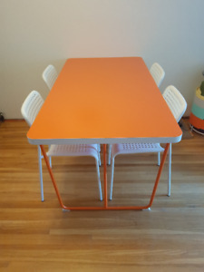 Kitchen Table With Four White Chairs - 120/OBO