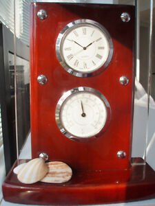 NEW MAHOGANY CLOCK, THERMOMETER - GORGEOUS PIECE