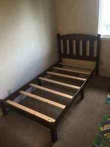 Twin wooden bed frame with slats