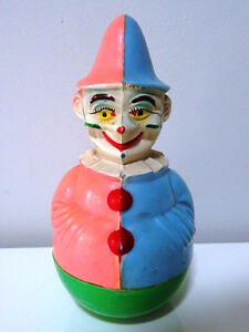 1950 -60 CLOWN roly poly HONG KONG retro toy HAND PAINTED rattle
