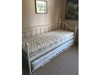 Trundle bed - mattresses included. White iron day bed look. £125