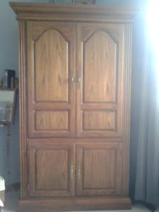 Solid Oak TV/Wardrobe Cabinet - $75