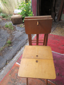 antique TV TRAYS WITH STAND - 1950's
