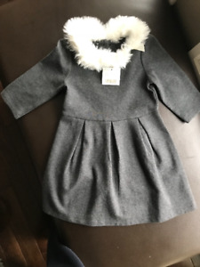 Girls fur collar dress - Brand new!