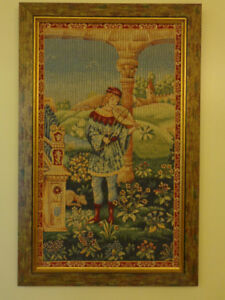 Tapisserie homme et vielle Tapistry Man and his Vielle