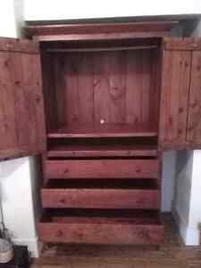 Large Solid Wood Armoire / Entertainment Centre with drawers