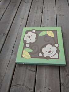 Light up monkey picture & crib liner
