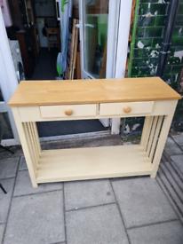 Cream and oak console table