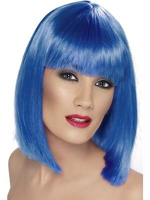 Womens Short Blue Wig Shoulder Length Straight Hair Bangs Costume Adult NEW