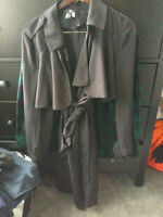 H&M Black Trench Coat Size 12