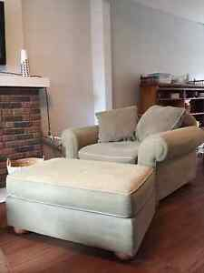Beautiful Large Armchair and Ottoman