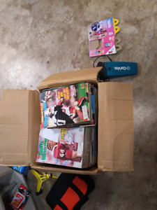 Box of old sports magazines