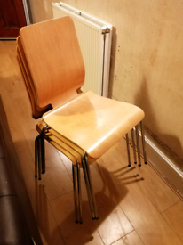 4x Wooden Dining Chairs (stackable)