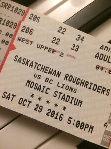 2 TICKETS-LAST ROUGHRIDERS HOME GAME-Oct. 29, 2016