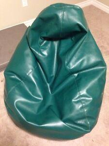 Custom green thick pleather bean bag chair
