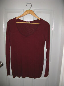 Wine/Purple/Black Ribbed Long Sleeve T - Thyme Maternity