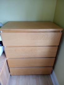 Ikea malm 4 drawer unit..beech/pine effect