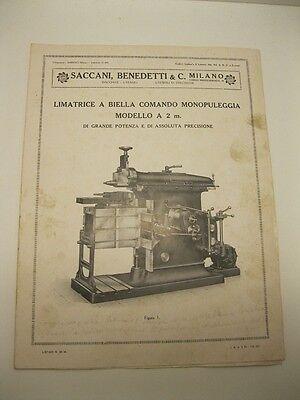 Saccani, Benedetti & C. Milano. Limatrice a biella comando monopuleggia